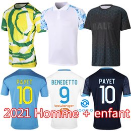 venda por atacado Olympique de Marseille Jersey 2021 2022 OM Maillot de pé Payet Thauvin Benedetto Polo Jerseys 20 21 22 Milik Camisas