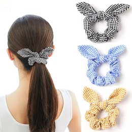 hair bow tie holder 2021 - Striped Hairband Rabbit Ear Hair Scrunchie Head Band Bow Hair Ties Girls Ponytail Holder Children Hair Accessories 6 Colors 200pcs DW5457