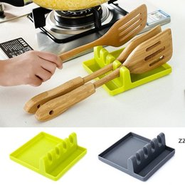 Kitchen Accessories Cooking Tools Heat Resistant Silicone Spoon Rest Ladle Utensil Holder Organizer Rack Storage Cooking Tool Holder HWF8524 on Sale