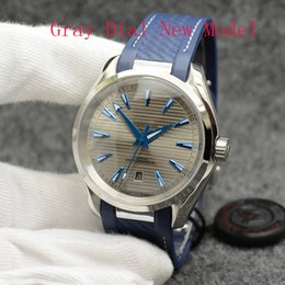 Watch Automatic Mechanical Grey Dial Mens 42mm Stainless Steel Glass Back Sports Rubber Strap Wristwarches on Sale
