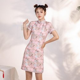 girl chinese cheongsam dress UK - 6856# Summer Young Girl Modified Dress Vintage Retro Chinese Improved Cheongsam Elegant Mandarin Collar Female Qipao Ethnic Clothing