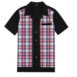 Wholesale blue red checkered shirt for sale - Group buy Summer Fall Men s Checkered Shirt Red And Blue Short Sleeve Plaid Shirts Retro Rockabilly Pinup Mens Blouse Free Drop Casual