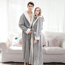 Wholesale winter robes for women for sale - Group buy Flannel Thicken for Winter Warm Bathrobe Long Sleeve Couple Pajamas Sleepwear Women Men Bath Robe Loungewear