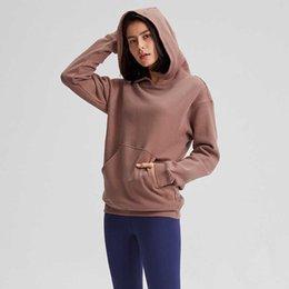 Toptan satış Spor Spor Hoodies LU-123 Kadınlar Sonbahar Kış Polar Kapşonlu Kazak Katı Spor Dış Giyim Sıcak Ter Femme Yoga Kazak Ceket Kaban