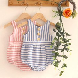baby born clothes boy 2021 - Born Infant Baby Boys Girls Sleeveless Striped Clothes Bodysuit Romper Children's Clothing Girl Bodysuits # Rompers