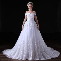 Wholesale Elegant A Line Wedding Dresses Lace Bridal Gowns Appliqued Off shoulder Zipper In The Back Fashion