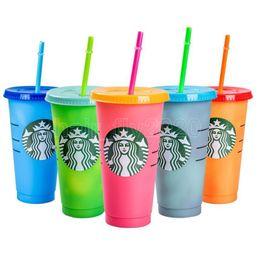 Опт 24oz Color Shanging Cup Magic Whiteware Пластиковые питьевые тумблеры с крышкой и соломенной многоразовой конфетой цветы холодные чашки летняя бутылка воды
