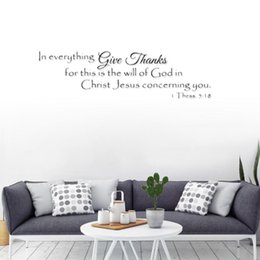 christian home decor wall art UK - In Everything Christian Jesus Quotes Wall Stickers Home Decor Living Room Art Decals Diy Wallpaper Wallpapers