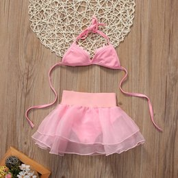 pink bathing suits kids NZ - Kid Baby Child Beachwear Bikini Set Swimming Costume Bathing Suit Girls Pink Flower Swimsuit Lace Swimwear