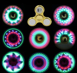Wholesale Gloves Cool coolest led light changing fidget spinners toy kids toys auto change pattern 18 styles with rainbow up hand spinner