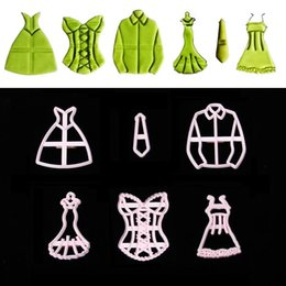 Wholesale cookie clothing for sale - Group buy 6Pcs Set Clothes Dress Cookie Cutter Embossed Cake Mold Fondant Cutters Mould Pastry Chocolate Baking Decorating Tools Moulds