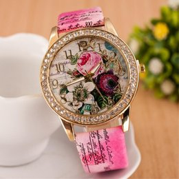 Discount new vogue patterns Watch Women Fashion Rhinestone Flower Patterns Dress Watches Female Hour Leather Blossom Rose Lady Analog Quartz Vogue Clock Relogio
