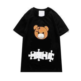 Опт Мужские футболки 2021 Весна Лето Женщины Открытый Футболки Медведь Печать Футболки Мода Повседневная Головоломка Медведь Футболка с коротким рукавом FS9210