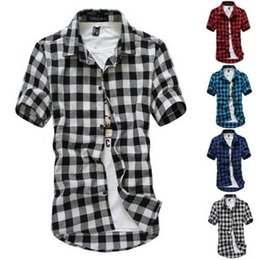 Wholesale black red checkered shirt resale online - Red And Black Plaid Shirt Men s New Summer Fashion Chemise s Checkered s Short Sleeve Blouse