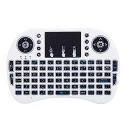 Опт Mini I8 2.4 ГГц 3-цветной подсветку Беспроводная клавиатура с сенсорной панелью белый светодиодный замерзаемый нежный внешний вид космический дизайн до 10 метров энергосберегающий