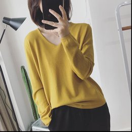 Discount fall sweaters Thin Fall Women Sweaters Sweater Sexy V Neck Knitted Long Sleeve Korean Style Autumn Womens Pullover Pull Femme