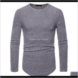 Wholesale men t shirt rib resale online - Men Long Sleeve Knit Shirt Longline Curve Hem Hip Hop Tshirt O Neck Slim Fit Striped Rib Funny T Shirt Mens Casual Streetwear Rsat Odwok