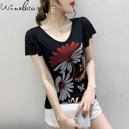 women shiny shirt Australia - Summer European Clothes Mesh T-Shirt Fashion Sexy V-Neck Shiny Diamonds Women Tops Short Sleeve Ruffles Tees 2021 T13505A Women's