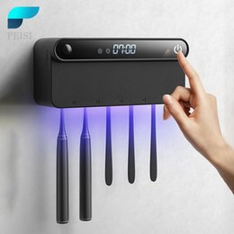 UV Toothbrush Holder Sanitizer Sterilizer Toothpaste Squeezer Dispenser LED Displayed Timming Disinfection Bathroom Accessories Set on Sale