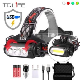 usb charging headlamp 2021 - Fishing LED Headlight Portable Camping Headlamp USB Charging XPE T6 Lantern 8Mode Waterproof Red Green IndicatorUse 2x 18650 Headlamps