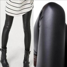 Wholesale wet look black leggings resale online - Women Hot Sexy Black Wet Look Faux Leather Leggings Slim Shiny Pants best selling ZHL6825