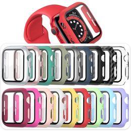 Großhandel PC-Uhr-Fälle für Apple Smartwatch 38mm 40mm 42mm 44mm mit gehärtetem Glas-Display-Protektor voller Abdeckung