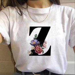 Wholesale s letter alphabet for sale - Group buy Vogue Womens T Shirt Alphabet Letter With Flowerswomen Harajuku Casual White Tops Tees Women Summer Female