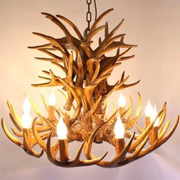 antlers light UK - Retro Antler Chandelier 4 6 9 Arms Horn Vintage Industrial Light For Bar Living Room Bedroom Loft Resin Deer Hanging Lamp Pendant Lamps