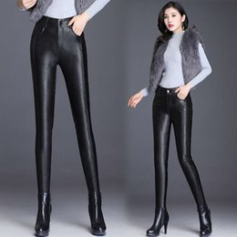 plus size leather wear 2021 - leggings Autumn and plush Faux leather pants clothes for women to wear tight elastic plus size yoga denim sport woman