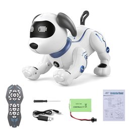 toys robots 2021 - LANDZO K16A Electronic Pets RC Animal Programable Robot Dog Voice Remote Control Toy Puppy Music Song for Kids Birthday Gift 210326