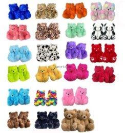 18 Styles Warm Shoes Plush Teddy Bear House Slippers Brown Women Home Indoor Soft Anti-slip Faux Fur Cute Fluffy Pink Leopard Slippers Women Winter