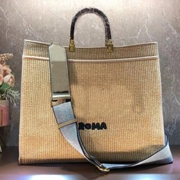 Discount straw shopping bags women Lady Tote Women Handbag Raffia Straw Woven Handbags Fashion F letter Shoulder Bags Detchable Nylon Strap Shopping Bag Inside Zipper Pocket Handcraft Summer Style