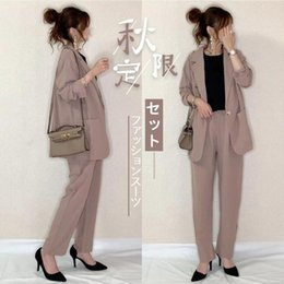 Wholesale korean ladies pants resale online - Casual Two Piece Sets Tops Long Pants Autumn Korean Japan Office Lady Work Tracksuits Trousers Female Women s