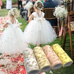 Wholesale tutus rolls resale online - 15cm m Tissue Tulle Roll Fabric Spool Craft Tutu Dress Gold Star Print Organza Baby Shower Birthday Wedding Decoration Party