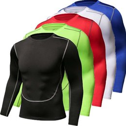 Wholesale cycling jerseys soccer for sale - Group buy Sports Long Sleeved Mens Stretch Sports Top Breathable Quick Drying T shirt Cycling Basketball Running Training Base Tights Soccer Jersey
