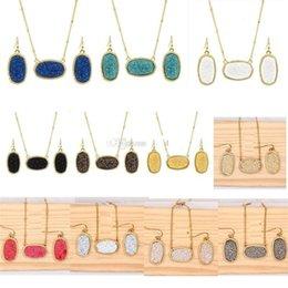 Gold Silver Plated Drusy Druzy Necklace Style Drop Earrings Jewelry Set Resin Glitter Choker for Women on Sale
