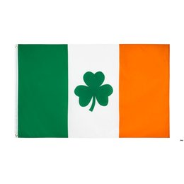 Wholesale irish flags resale online - Shamrock Ireland Flag x150CM Polyester Green White Orange Printed Home Party Hanging Flying Decorative Irish Flags Banners OWA4568