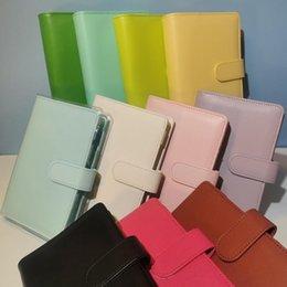 Sea 11 Macron Colors! Empty Loose Leaf Notebook A6 Binder Filing Supplies 13*19cm PU Cover Spiral Folders Budget Planners Binders