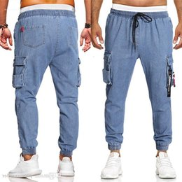 american apparel jeans UK - American Mens Loose Pocket Drawstring Decoration Design Casual Jeans Fashion Males Apparel Panelled Designer European and