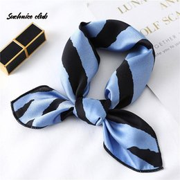 Discount handkerchief headband Women Satin Hair Handkerchief Scarf Stripe Print Wrap Foulard Small Soft Silk Square Neck Bandana Skinny Shawls 2021 Scarves