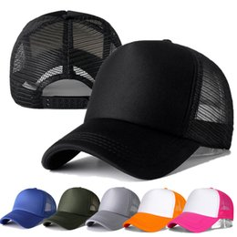 plain mesh trucker hats UK - 1 Pcs Unisex Casual Plain Mesh Baseball Adjustable Snapback Hats for Women Men Hip Hop Trucker Cap Streetwear Dad Hat