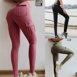 pantalones de yoga del hombre al por mayor-Mujeres Pantalones de yoga High Cintura Militar Estilo Deporte Leggings Gym Slim Fit Pocket Sweetpants Outdoor Correr Fitness Men s