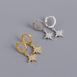 925 Sterling Zilver Schattige Meisjes Oorbel College Oorbellen Kerstcadeau Delicate Micro Pave Tiny CZ Star Charm 18K Vergulde Sieraden