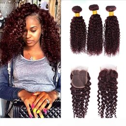 99j burgundy brazilian kinky curly virgin hair with 4x4 closure brazilian human curly hair weave 3 bundle with free middle three lace closur