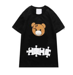 Discount letters puzzle DHL Mens T-Shirts 2021 Spring Summer Women Bear Print T-Shirts Fashion Casual Puzzle Bear T-shirt Selling Short Sleeve