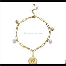 Discount head chain design Design Fashion Stainless Steel Boho Crystal Fresh Water Pearl Beauty Head Coin Anklet For Women Square Chain Foot Bracelet Hafdv Ankle Ehtsm