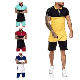 colorblock camiseta al por mayor-Fashion Mens Tracksuits Classic Set Short Ropa casual de verano Paquetes Masculino Colorblock T Shirts Zip Solapa T Shirt Shorts
