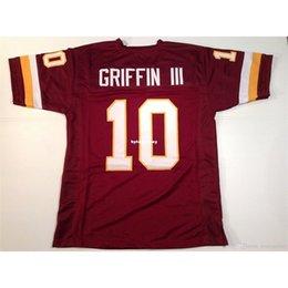Sewn Cheap Retro custom Stitched #10 Robert Griffin III Burgundy MITCHELL & NESS Jersey High-end Men's Football Jerseys College NCAA