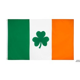 Wholesale irish flags for sale - Group buy Shamrock Ireland Flag x150CM Polyester Green White Orange Printed Home Party Hanging Flying Decorative Irish Flags Banners EWA4568