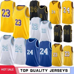 Wholesale LeBron 23 James 2021 New Basketball Jerseys Los AngelesLakersKobe24Bryant Mens Anthony 3 Davis Kyle 0 Kuzma Green